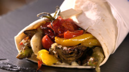 Wrap légumes confits recette Carinne Teyssandier