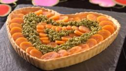 Coeur de tarte salée aux petits pois et carottes